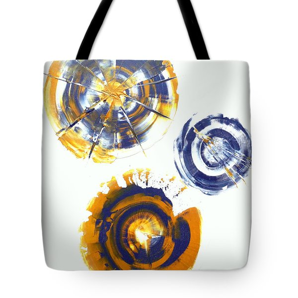 Yellow And Grey Spherical Abstract  Tote Bag