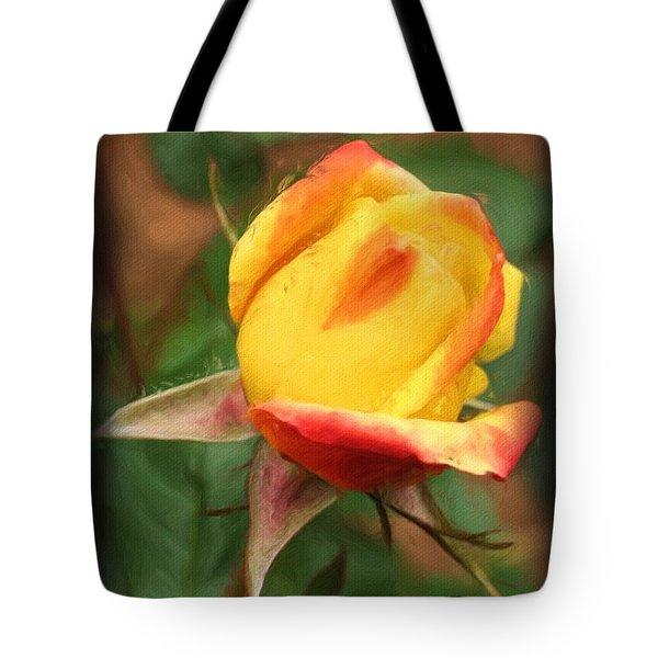 Yellow And Orange Rosebud Tote Bag