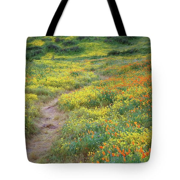 Tote Bag featuring the photograph Yellow And Orange Wildflowers Along Trail Near Diamond Lake by Jetson Nguyen