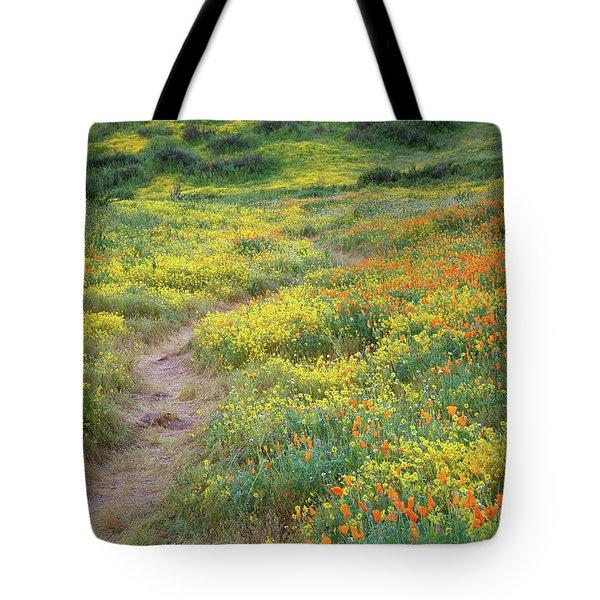 Yellow And Orange Wildflowers Along Trail Near Diamond Lake Tote Bag