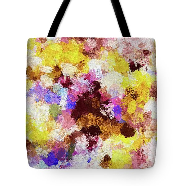 Tote Bag featuring the painting Yellow And Pink Abstract Painting by Ayse Deniz