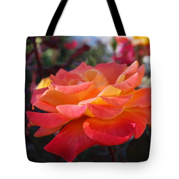 Yellow And Pink Rose Tote Bag