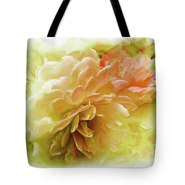 Tote Bag featuring the photograph Yellow And Pink Roses by Elaine Manley