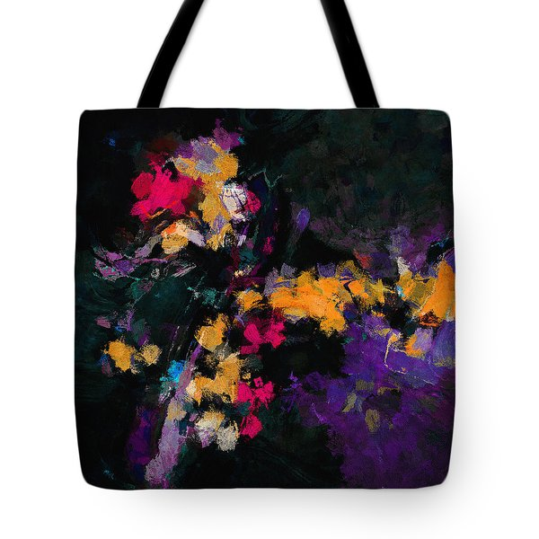 Tote Bag featuring the painting Yellow And Purple Abstract / Modern Painting by Ayse Deniz