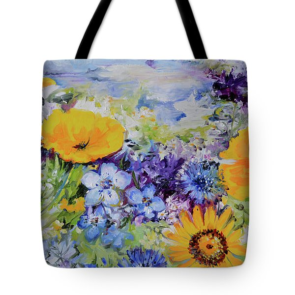 Yellow And Purple Flowers Field Tote Bag