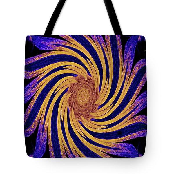 Tote Bag featuring the digital art Yellow And Purple Rotational Modern Geometrical Art by Merton Allen