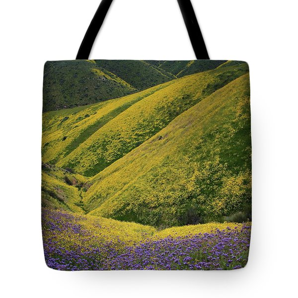 Yellow And Purple Wildlflowers Adourn The Temblor Range At Carrizo Plain National Monument Tote Bag by Jetson Nguyen