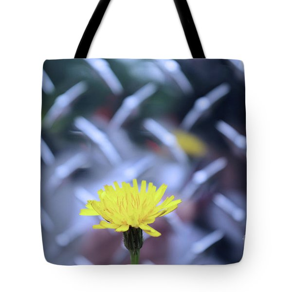 Yellow And Silver Tote Bag