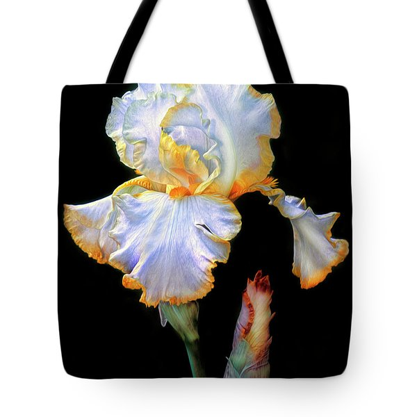 Yellow And White Iris Tote Bag