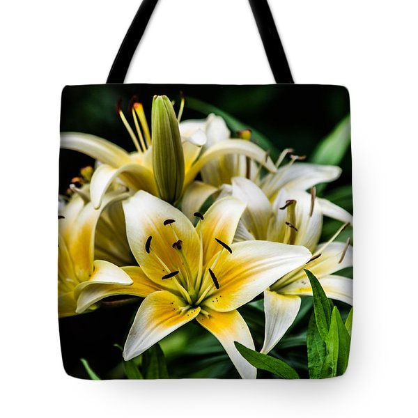 Yellow And White Lilys Tote Bag