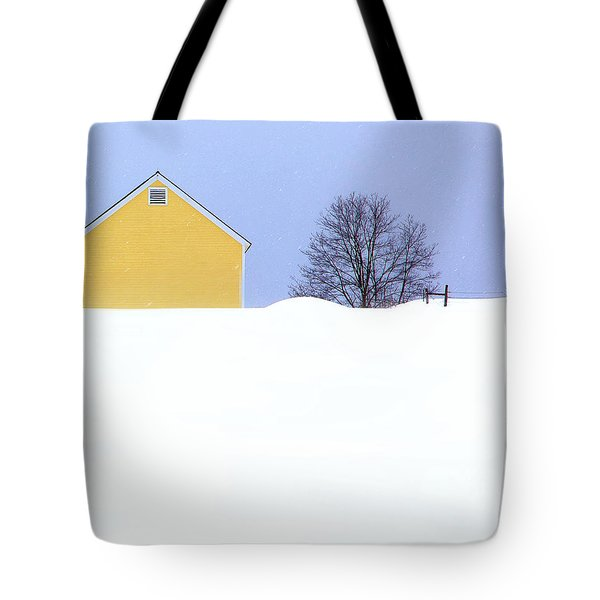Yellow Barn In Snow Tote Bag by John Vose