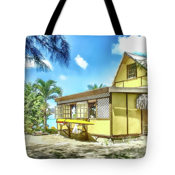Tote Bag featuring the photograph Yellow Beach Bungalow Bora Bora by Julie Palencia