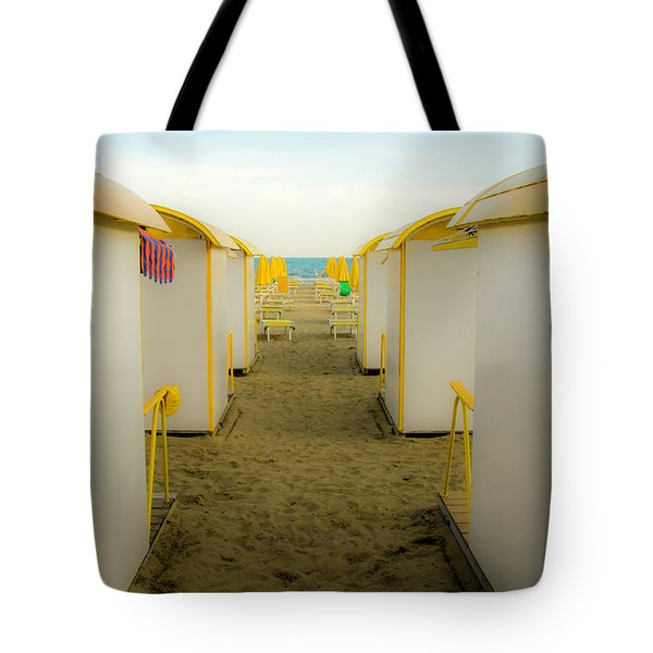 Yellow Beach Cabanas Tote Bag