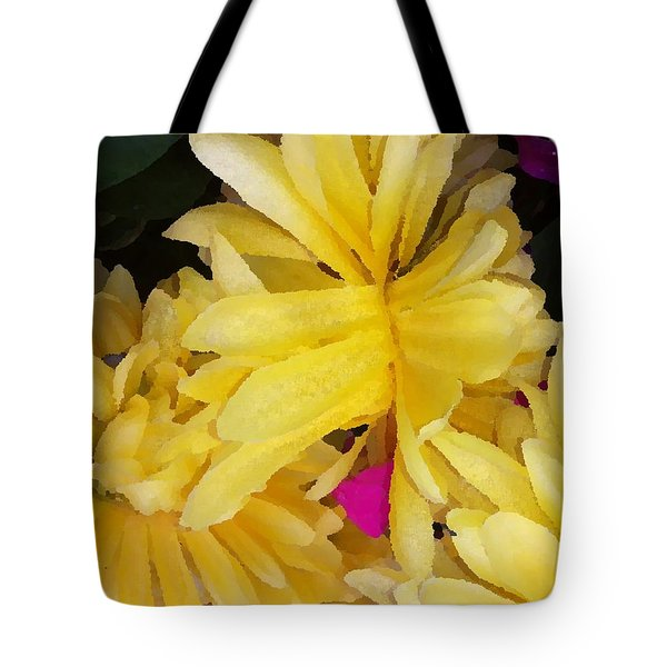 Tote Bag featuring the digital art Yellow Beauties by Gayle Price Thomas