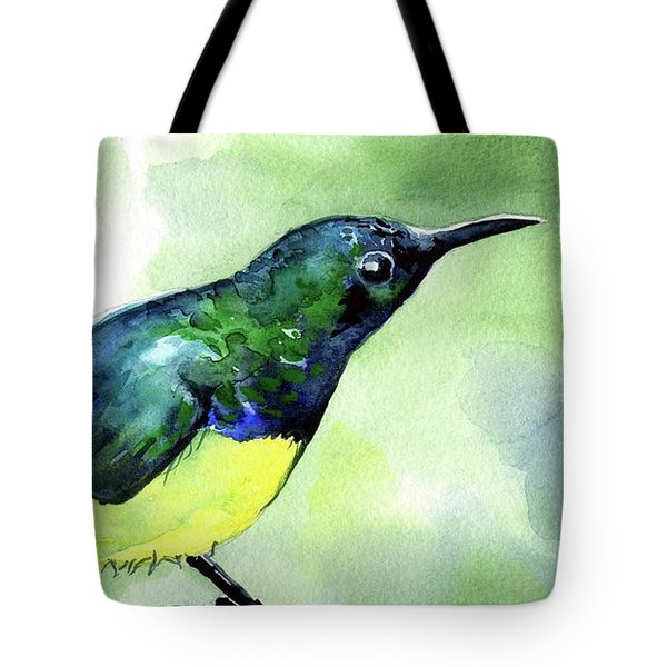 Tote Bag featuring the painting Yellow Bellied Sunbird by Dora Hathazi Mendes