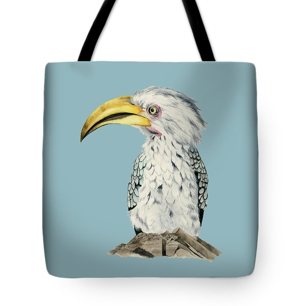 Yellow-billed Hornbill Watercolor Painting Tote Bag by NamiBear