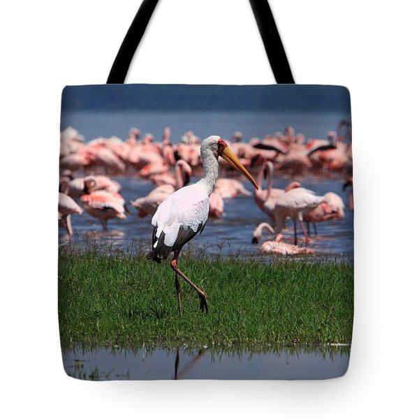 Yellow Billed Stork Tote Bag by Aidan Moran
