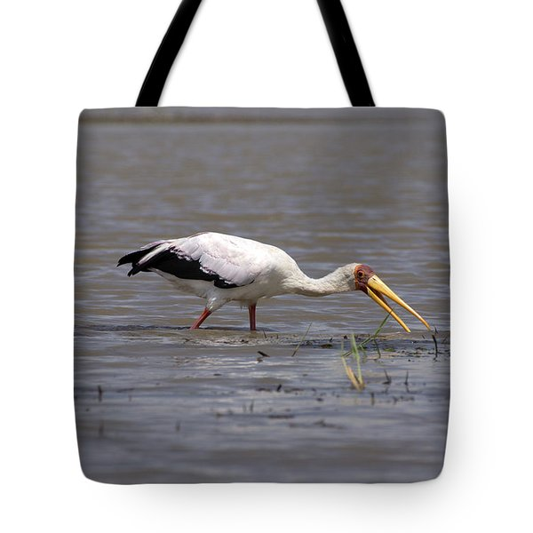 Yellow Billed Stork Wading In The Shallows Tote Bag