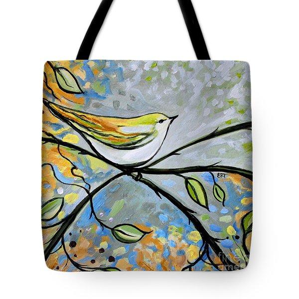 Yellow Bird Among Sage Twigs Tote Bag