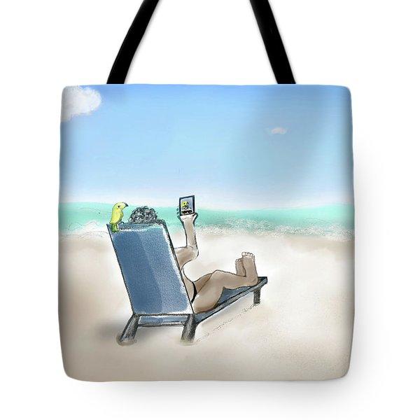 Yellow Bird Beach Selfie Tote Bag