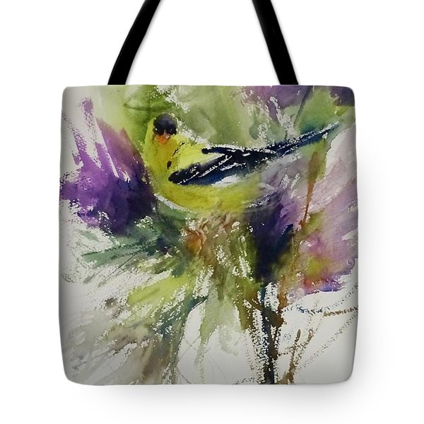 Yellow Bird In The Thistles Tote Bag