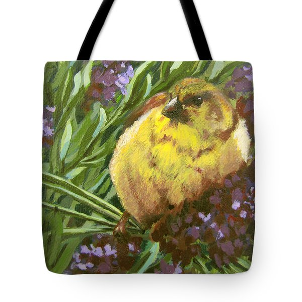 Tote Bag featuring the painting Yellow Bird by Karen Ilari