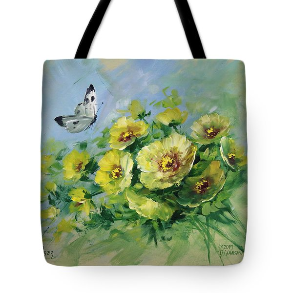 Yellow Blossoms And Butterfly Tote Bag by David Jansen