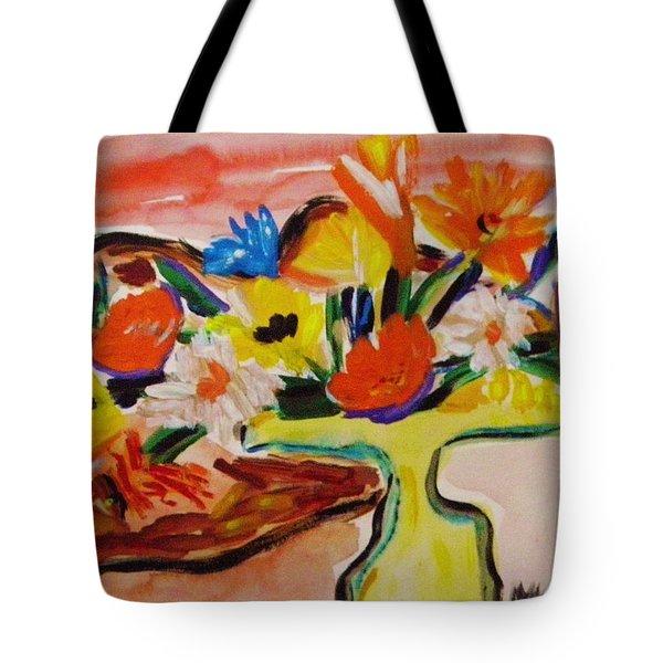 Yellow Blown Glass Vase Tote Bag