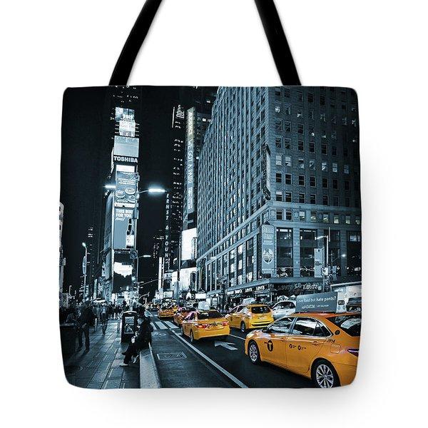 Yellow Broadway At Night - Nyc Tote Bag