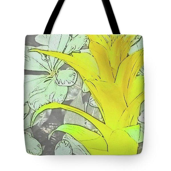 Yellow Bromeliad Flower Tote Bag