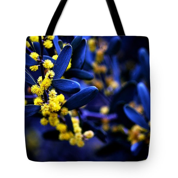 Yellow Bursts In Blue Field Tote Bag