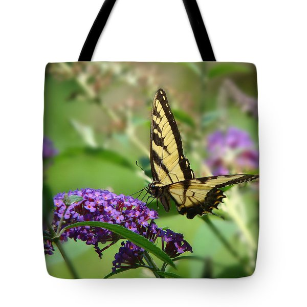Yellow Butterfly On Purple Tote Bag