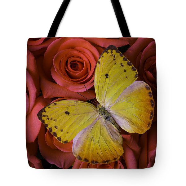 Yellow Butterfly Resting On Roses Tote Bag
