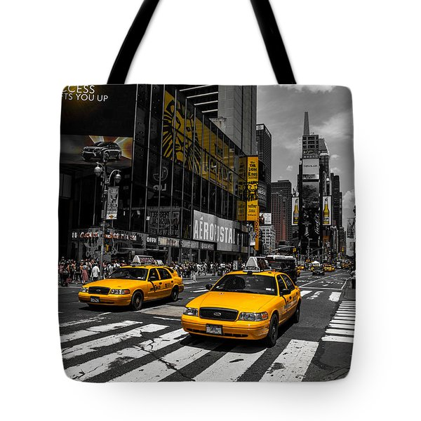 Yellow Cabs Cruisin On The Times Square  Tote Bag