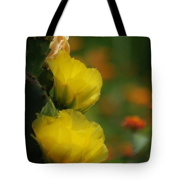 Tote Bag featuring the photograph Yellow Cactus Flower by Donna Bentley