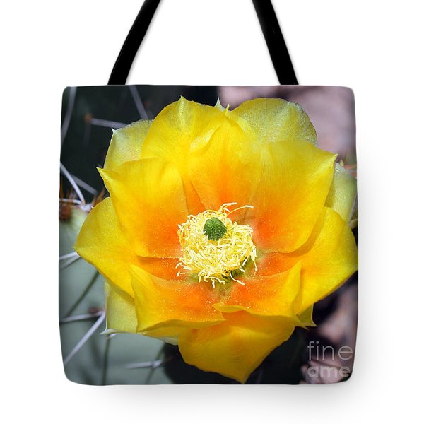 Yellow Cactus Flower Tote Bag