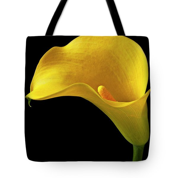Yellow Calla Lily In Black And White Vase Tote Bag