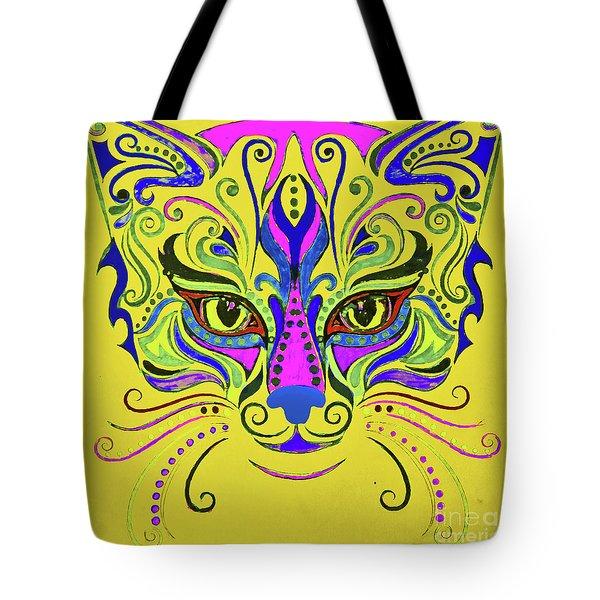 Yellow Cat Tote Bag by Maja Sokolowska