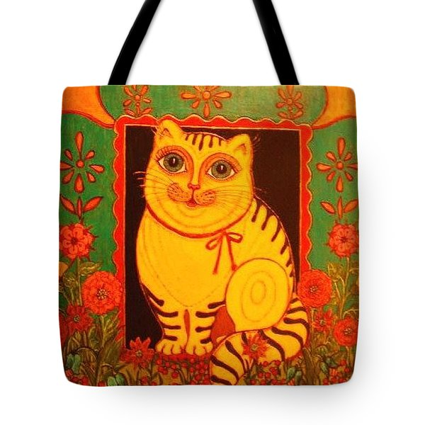 Tote Bag featuring the greeting card Yellow Cat by Rae Chichilnitsky
