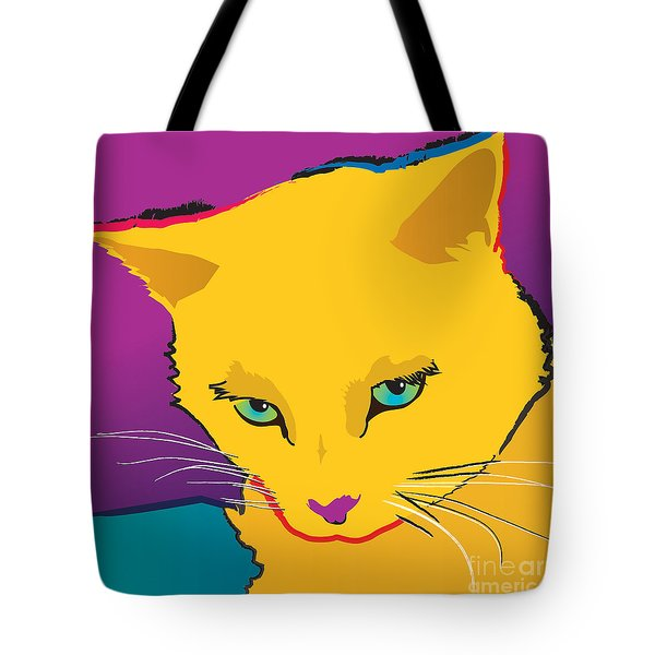 Yellow Cat Square Tote Bag