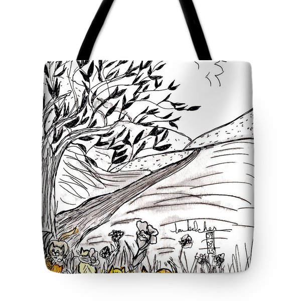 Tote Bag featuring the painting Yellow Cats by Lou Belcher