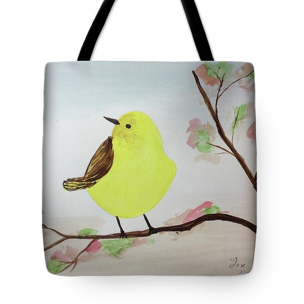 Yellow Chickadee On A Branch Tote Bag
