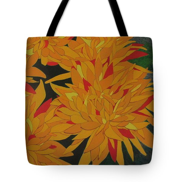 Tote Bag featuring the painting Yellow Chrysanthemums by Hilda and Jose Garrancho