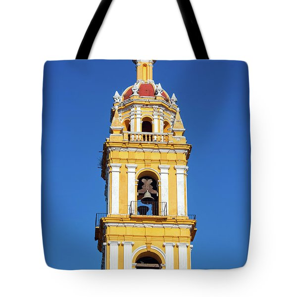Yellow Church And Blue Sky Tote Bag