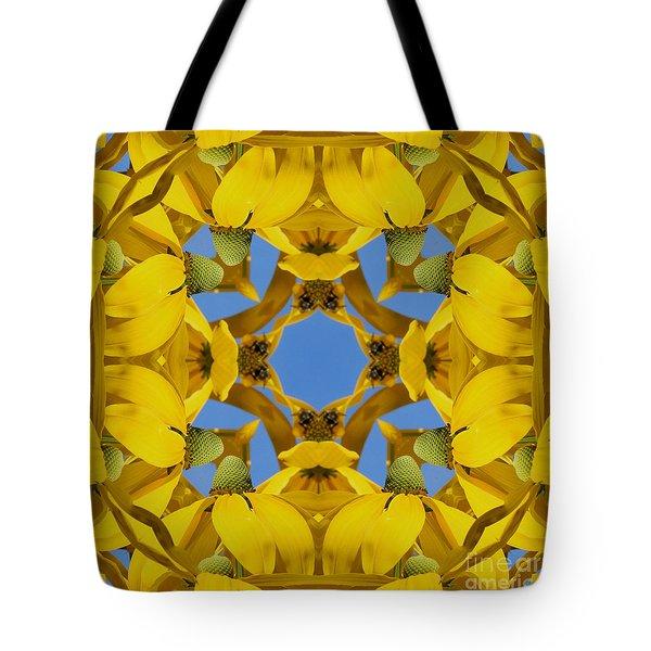 Yellow Coneflower Kaleidoscope Tote Bag