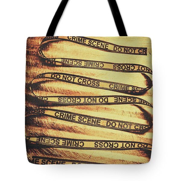Yellow Crime Scene Ribbon On Metal Background Tote Bag
