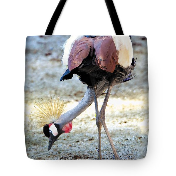 Yellow Crowned Crane Profile Standing Tote Bag