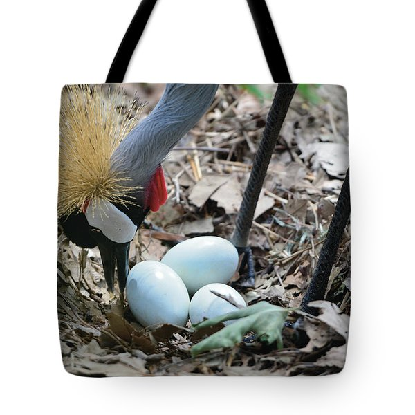 Yellow Crowned Crane Tending To Her Eggs Tote Bag