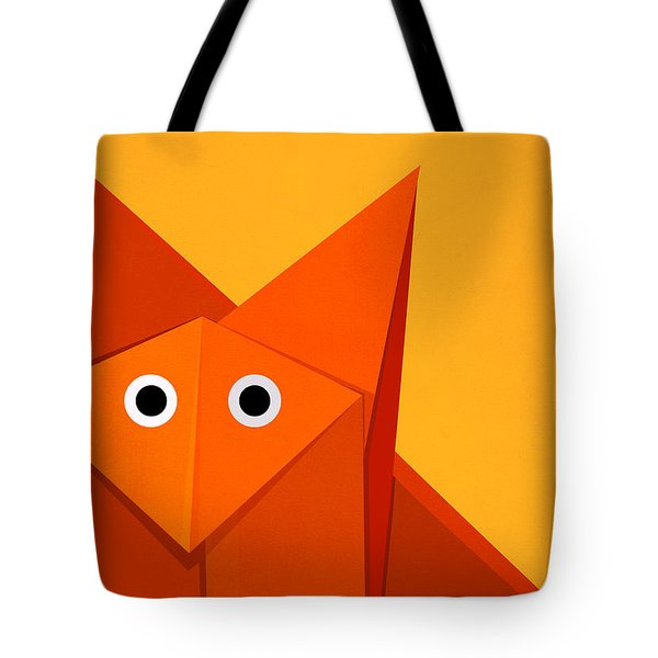 Yellow Cute Origami Fox Tote Bag