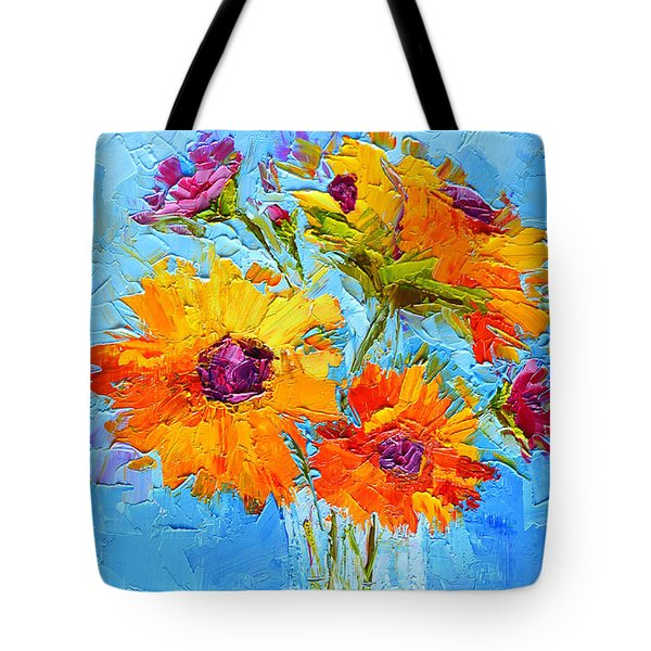 Yellow Daisies Flowers - Peonies In A Vase - Modern Impressionist Knife Palette Oil Painting Tote Bag